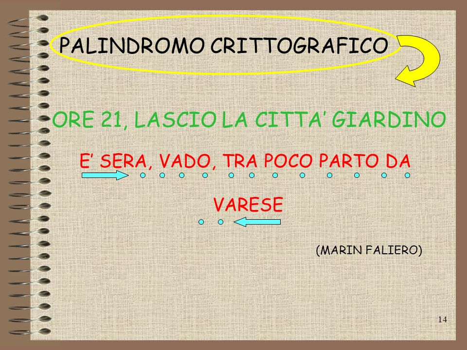 PALINDROMO CRITTOGRAFICO