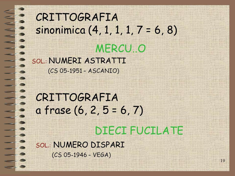 CRITTOGRAFIA sinonimica (4, 1, 1, 1, 7 = 6, 8) MERCU..O CRITTOGRAFIA
