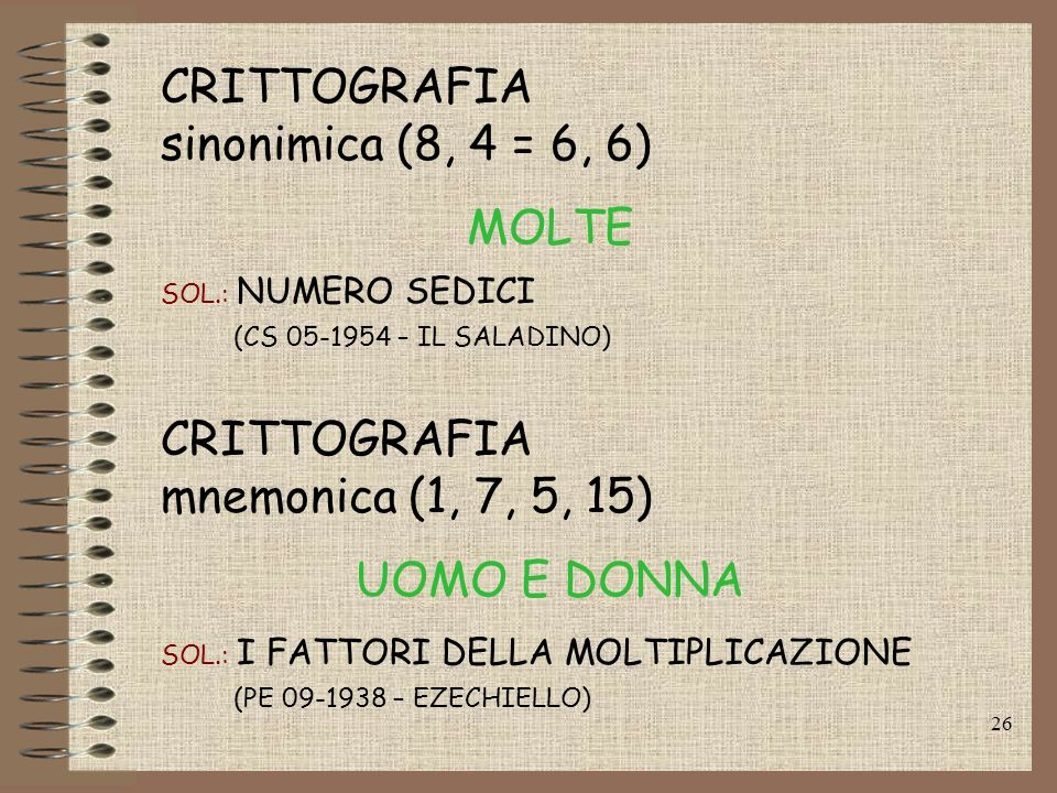 CRITTOGRAFIA sinonimica (8, 4 = 6, 6) MOLTE CRITTOGRAFIA