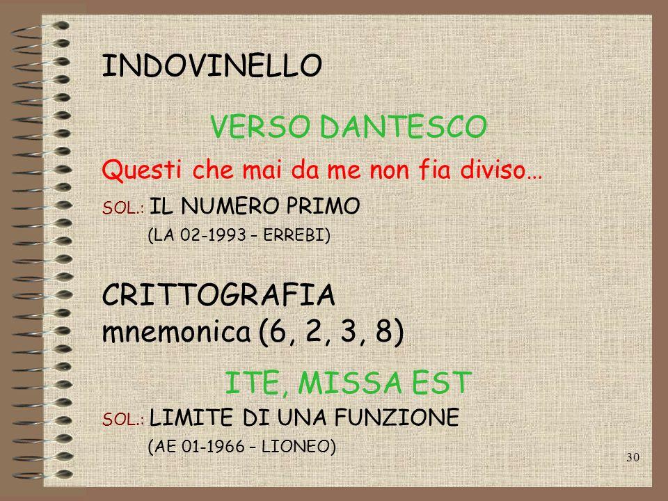 INDOVINELLO VERSO DANTESCO CRITTOGRAFIA mnemonica (6, 2, 3, 8)
