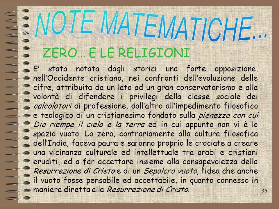 ZERO… E LE RELIGIONI NOTE MATEMATICHE...