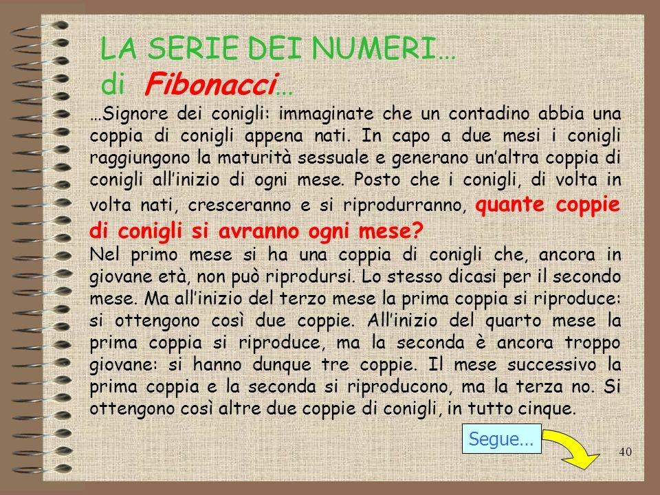LA SERIE DEI NUMERI… di Fibonacci…