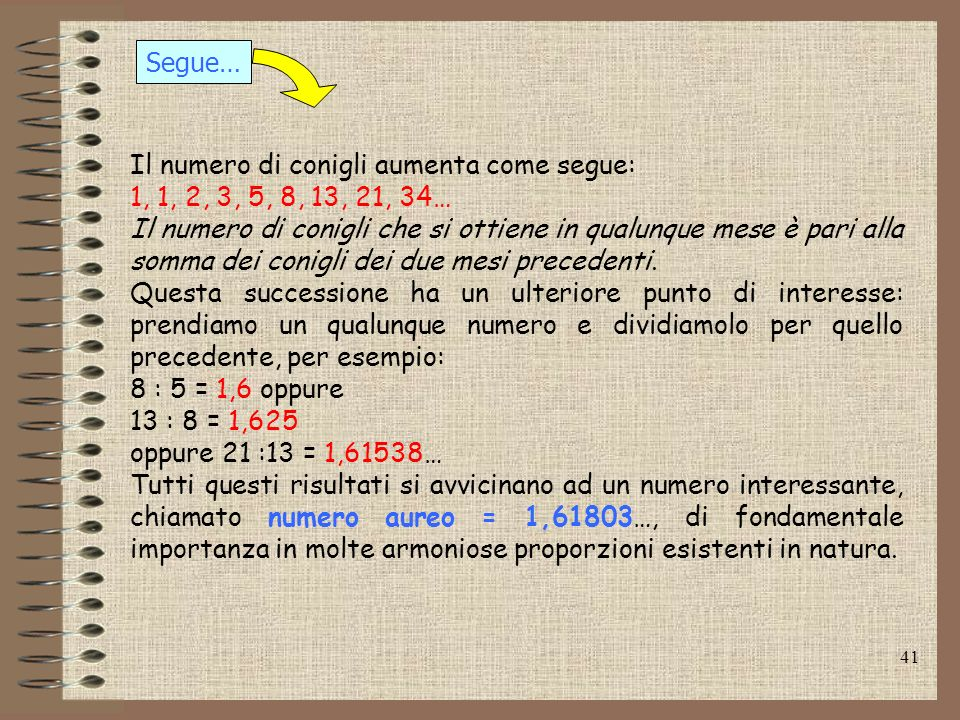 Segue…Il numero di conigli aumenta come segue: 1, 1, 2, 3, 5, 8, 13, 21, 34…