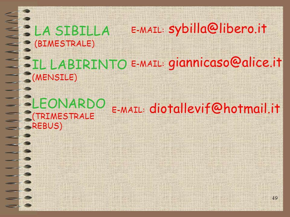 LA SIBILLA IL LABIRINTO LEONARDO E-MAIL: sybilla@libero.it