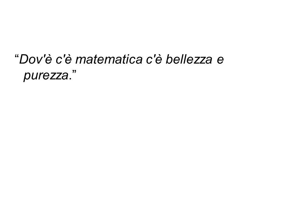 Dov è c è matematica c è bellezza e purezza.