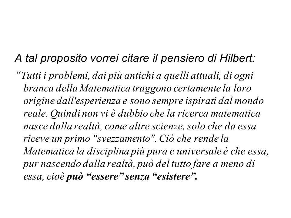 A tal proposito vorrei citare il pensiero di Hilbert: