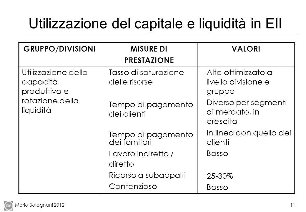 Utilizzazione del capitale e liquidità in EII