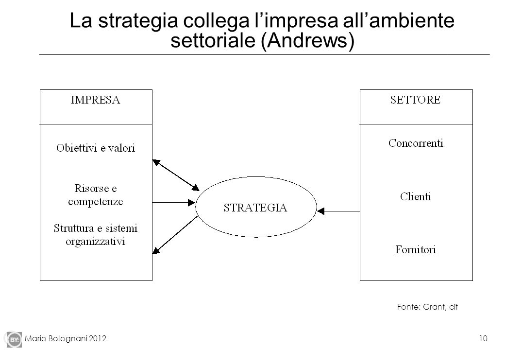 La strategia collega l'impresa all'ambiente settoriale (Andrews)