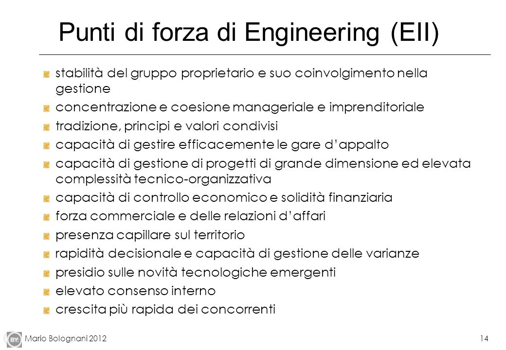Punti di forza di Engineering (EII)