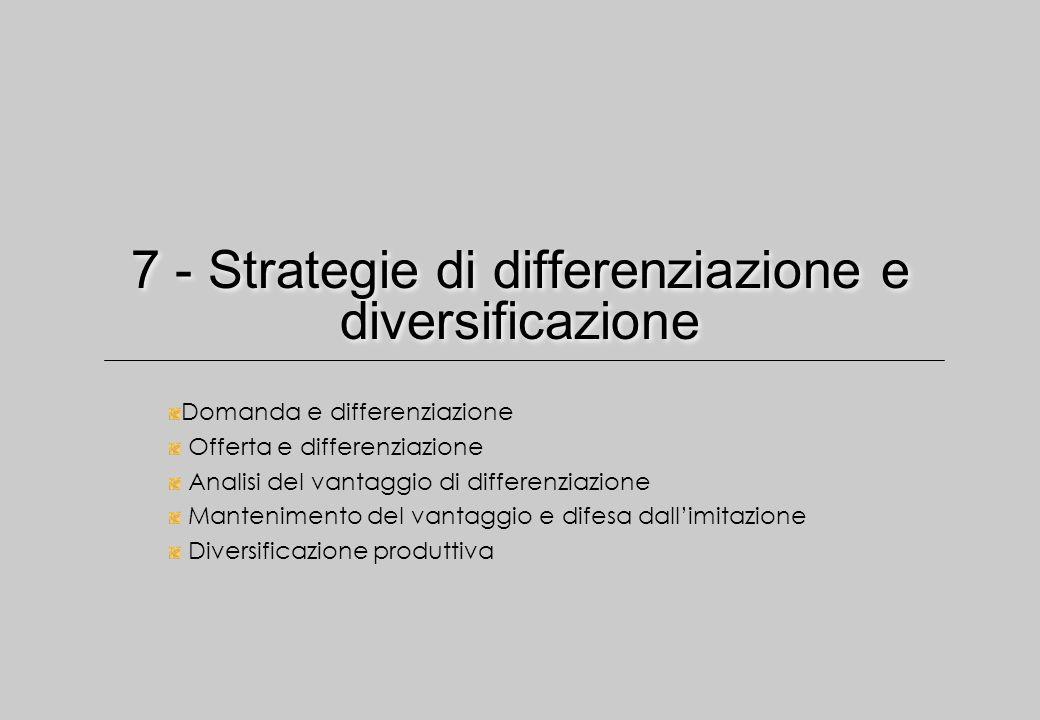7 - Strategie di differenziazione e diversificazione