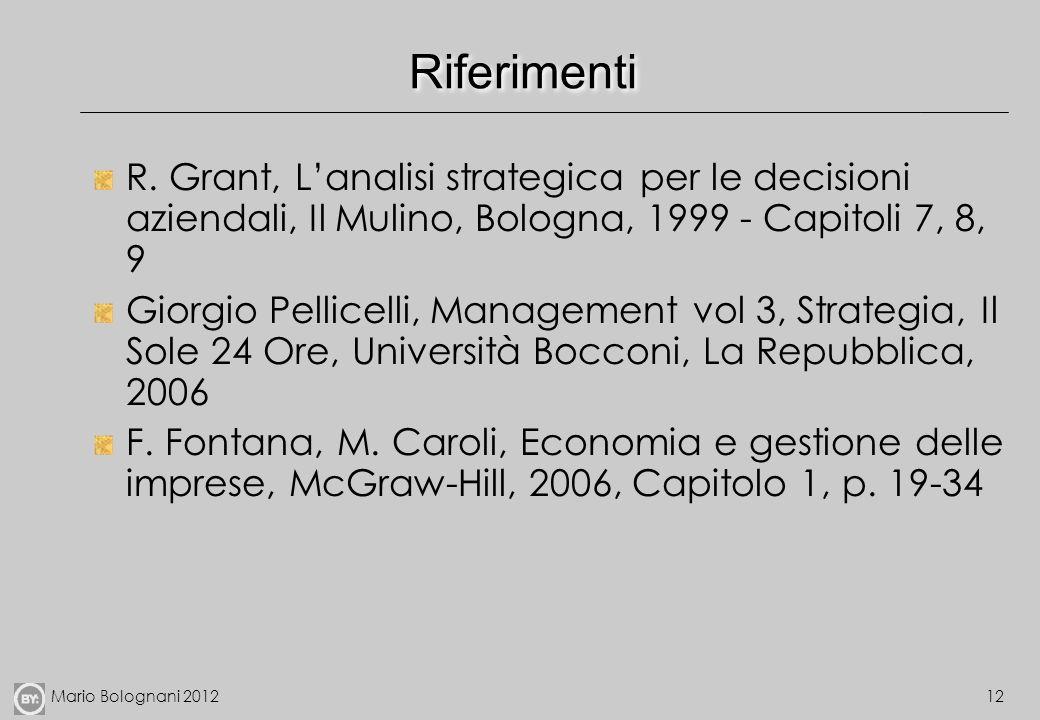 Riferimenti R. Grant, L'analisi strategica per le decisioni aziendali, Il Mulino, Bologna, 1999 - Capitoli 7, 8, 9.