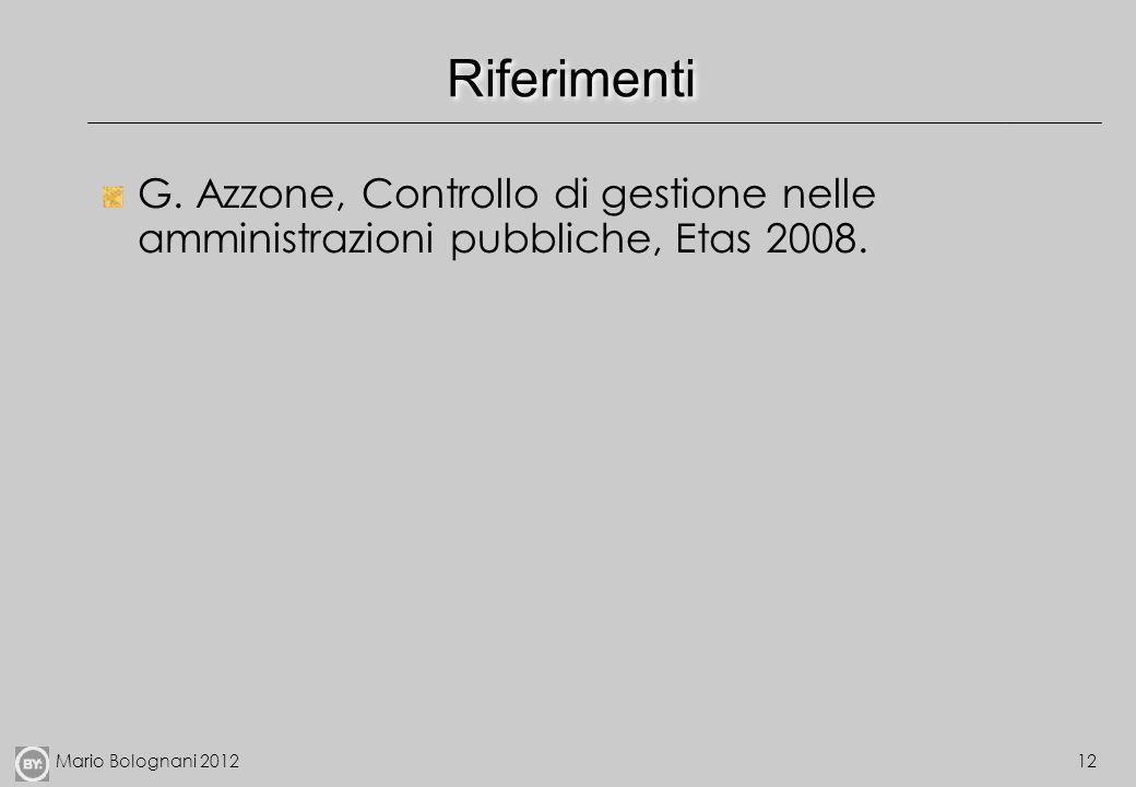 Riferimenti G. Azzone, Controllo di gestione nelle amministrazioni pubbliche, Etas 2008.