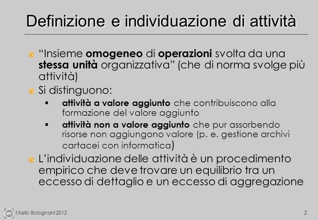 Definizione e individuazione di attività