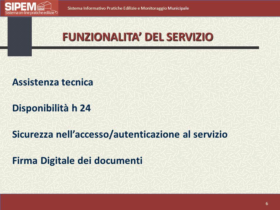 FUNZIONALITA' DEL SERVIZIO