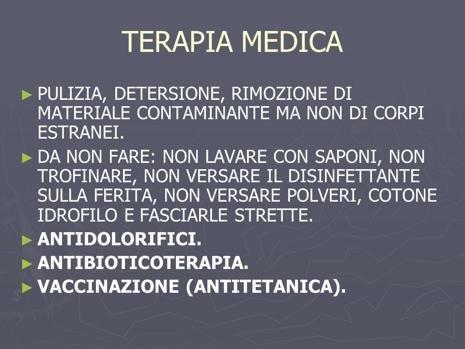 TERAPIA MEDICA PULIZIA, DETERSIONE, RIMOZIONE DI MATERIALE CONTAMINANTE MA NON DI CORPI ESTRANEI.