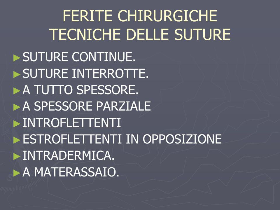 FERITE CHIRURGICHE TECNICHE DELLE SUTURE
