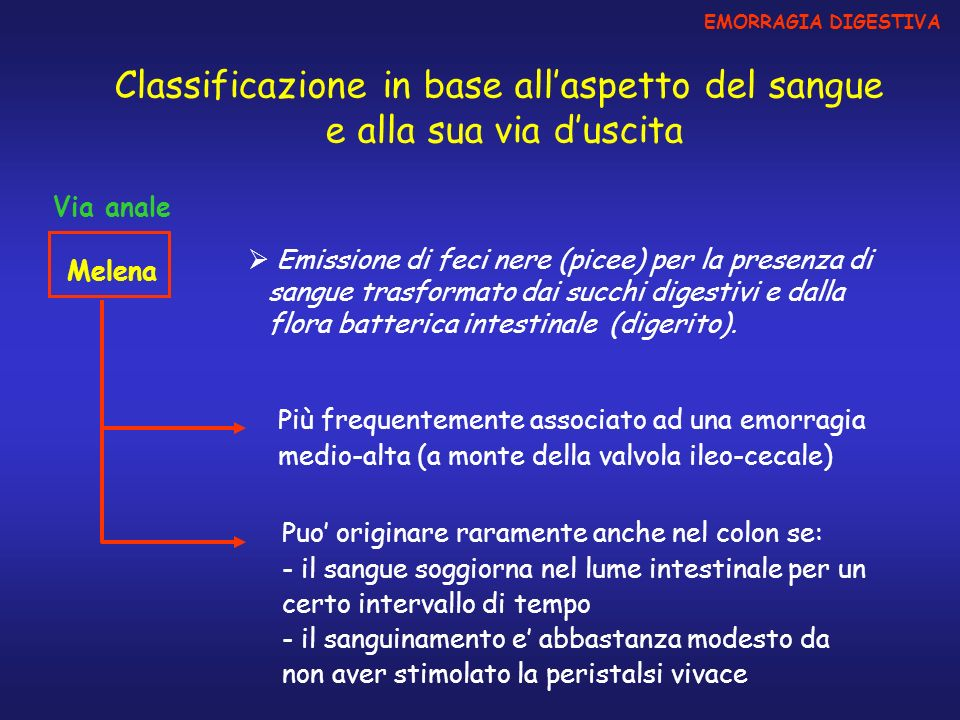 Classificazione in base all'aspetto del sangue