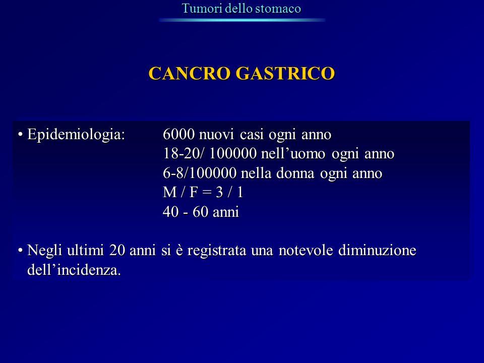 CANCRO GASTRICO Epidemiologia: 6000 nuovi casi ogni anno