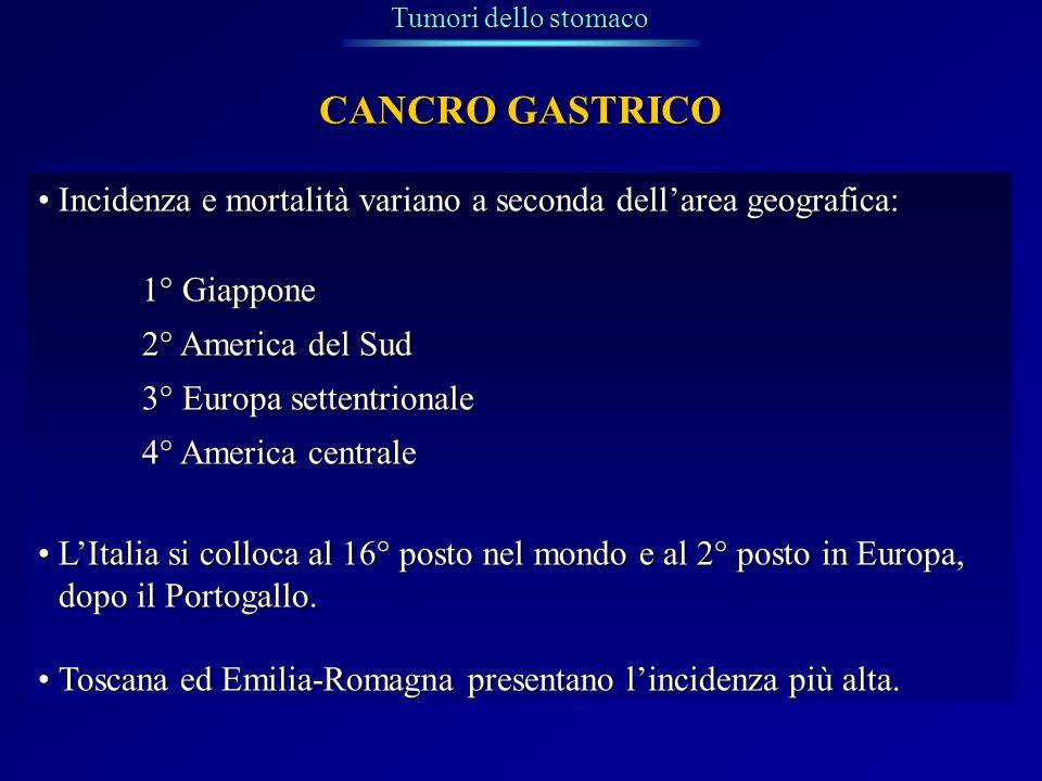 Tumori dello stomaco CANCRO GASTRICO. Incidenza e mortalità variano a seconda dell'area geografica: