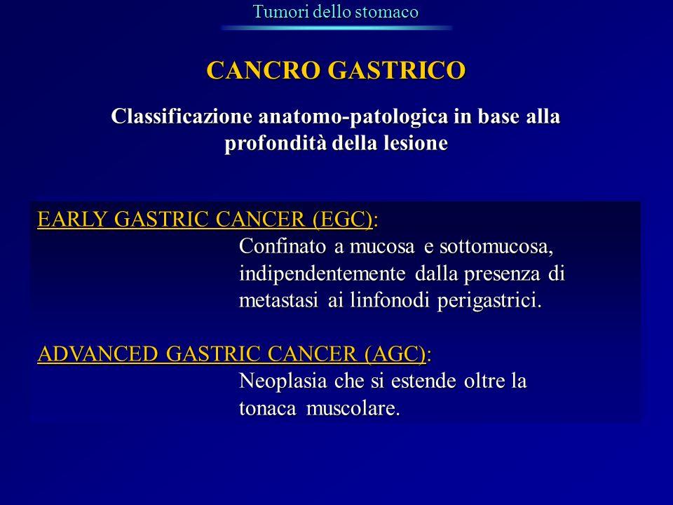 Tumori dello stomaco CANCRO GASTRICO. Classificazione anatomo-patologica in base alla profondità della lesione.