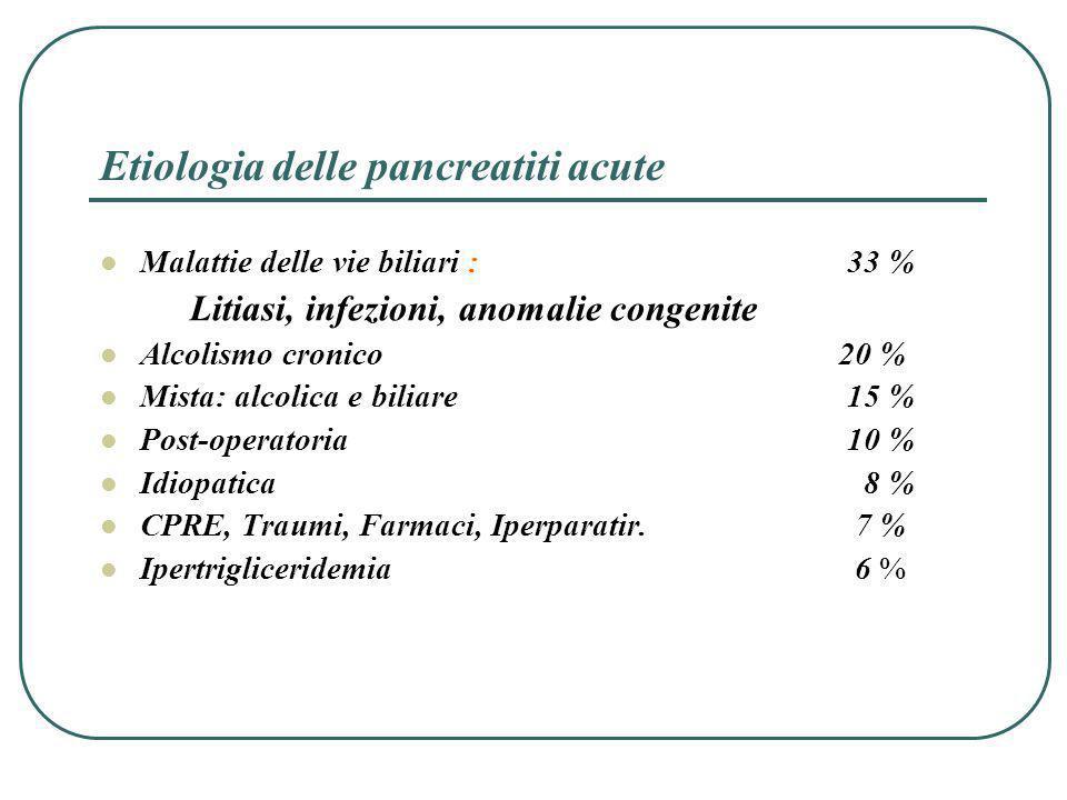 Etiologia delle pancreatiti acute