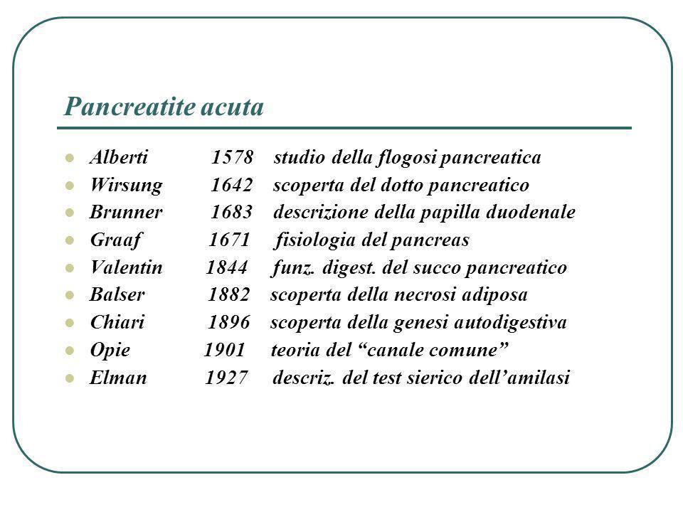 Pancreatite acuta Alberti 1578 studio della flogosi pancreatica