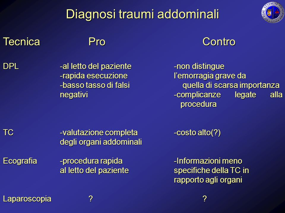 Diagnosi traumi addominali