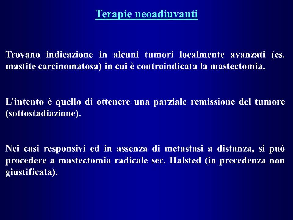 Terapie neoadiuvanti Trovano indicazione in alcuni tumori localmente avanzati (es. mastite carcinomatosa) in cui è controindicata la mastectomia.