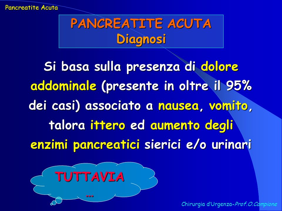 PANCREATITE ACUTA Diagnosi