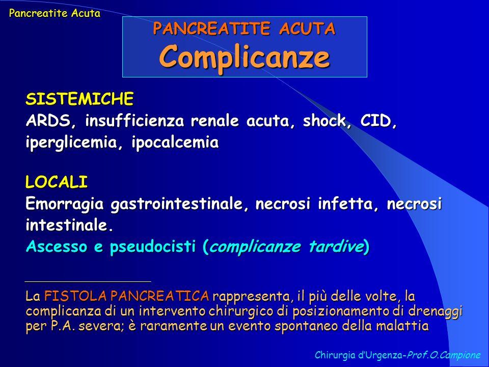 Complicanze PANCREATITE ACUTA SISTEMICHE
