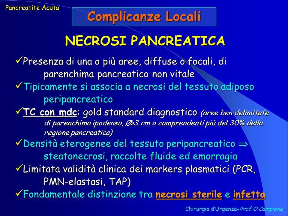 Complicanze Locali NECROSI PANCREATICA
