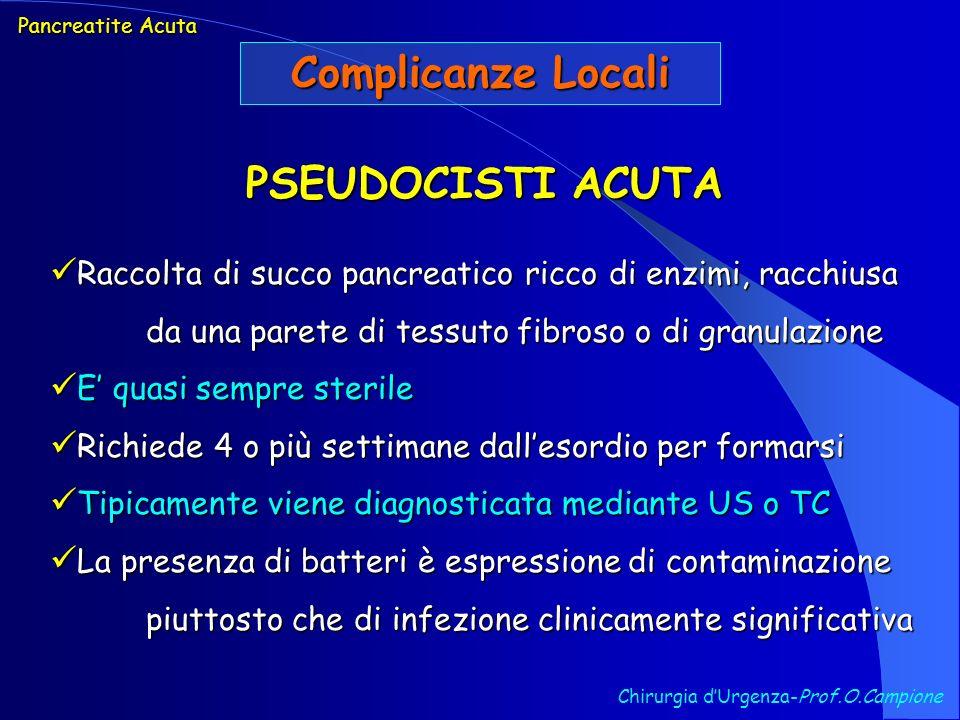 Complicanze Locali PSEUDOCISTI ACUTA