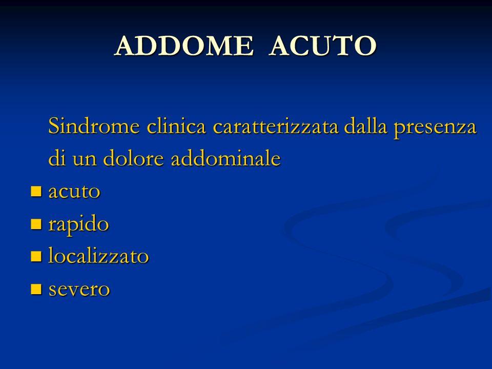 ADDOME ACUTO Sindrome clinica caratterizzata dalla presenza