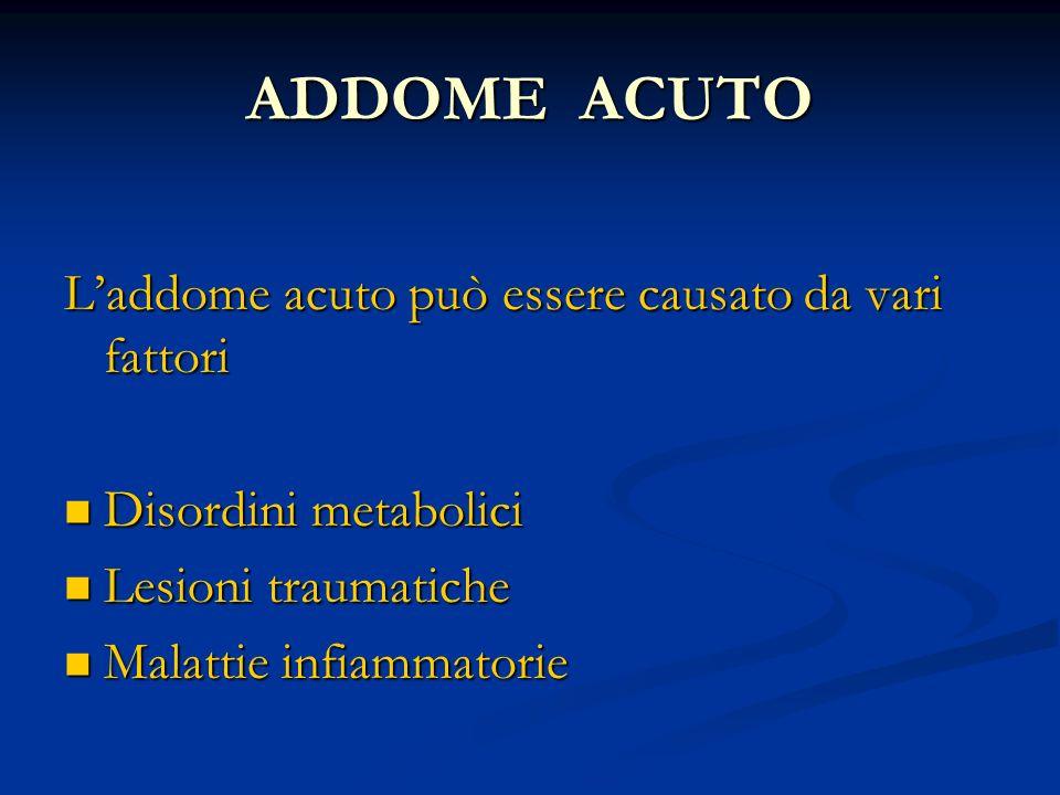 ADDOME ACUTO L'addome acuto può essere causato da vari fattori