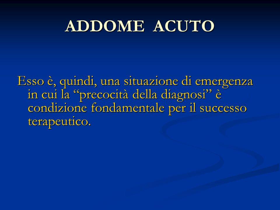 ADDOME ACUTO Esso è, quindi, una situazione di emergenza in cui la precocità della diagnosi è condizione fondamentale per il successo terapeutico.
