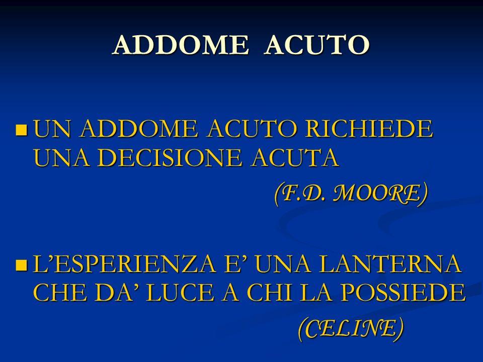 ADDOME ACUTO UN ADDOME ACUTO RICHIEDE UNA DECISIONE ACUTA (F.D. MOORE)