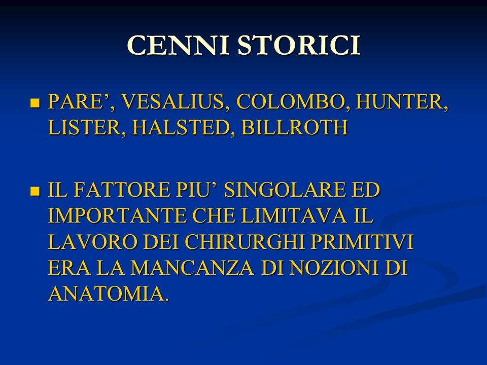 CENNI STORICI PARE', VESALIUS, COLOMBO, HUNTER, LISTER, HALSTED, BILLROTH.