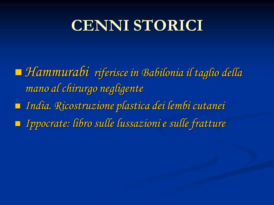 CENNI STORICI Hammurabi riferisce in Babilonia il taglio della mano al chirurgo negligente. India. Ricostruzione plastica dei lembi cutanei.