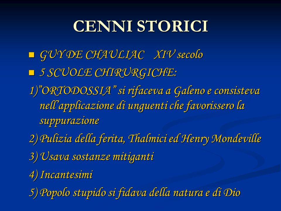 CENNI STORICI GUY DE CHAULIAC XIV secolo 5 SCUOLE CHIRURGICHE: