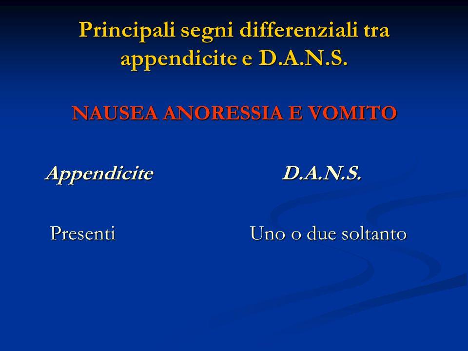 Principali segni differenziali tra appendicite e D.A.N.S.