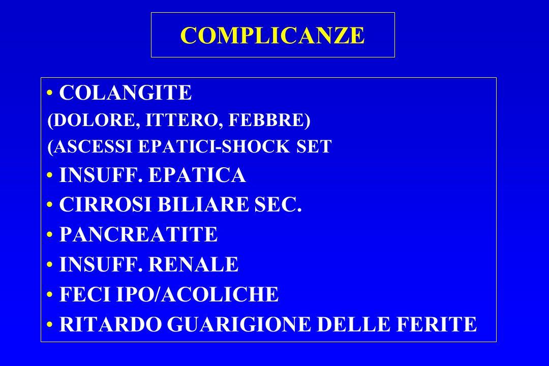 COMPLICANZE COLANGITE INSUFF. EPATICA CIRROSI BILIARE SEC. PANCREATITE