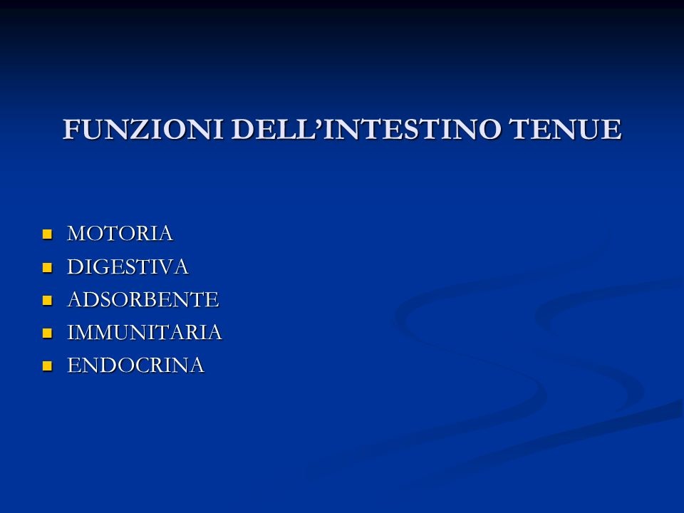 FUNZIONI DELL'INTESTINO TENUE