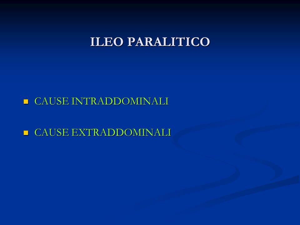 ILEO PARALITICO CAUSE INTRADDOMINALI CAUSE EXTRADDOMINALI