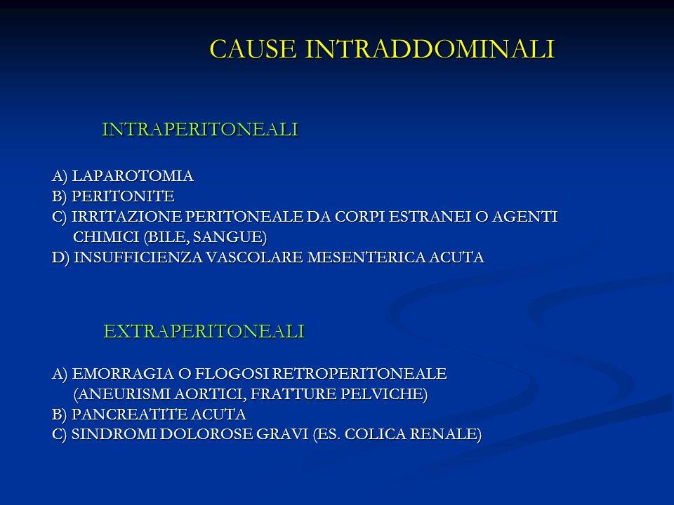 INTRAPERITONEALI CAUSE INTRADDOMINALI EXTRAPERITONEALI A) LAPAROTOMIA