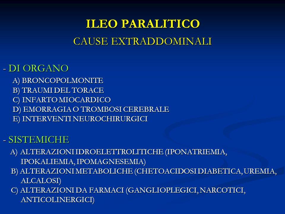 ILEO PARALITICO CAUSE EXTRADDOMINALI - DI ORGANO - SISTEMICHE
