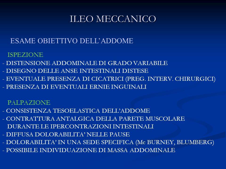 ILEO MECCANICO ESAME OBIETTIVO DELL'ADDOME ISPEZIONE PALPAZIONE