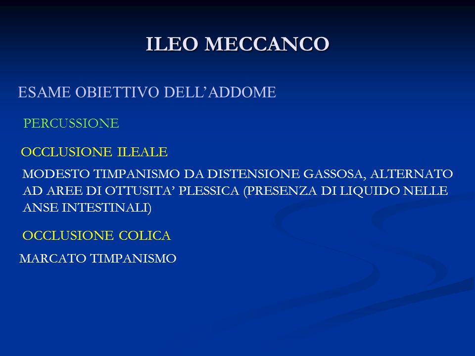 ILEO MECCANCO OCCLUSIONE ILEALE ESAME OBIETTIVO DELL'ADDOME