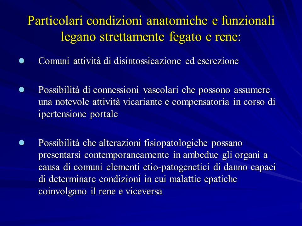 Particolari condizioni anatomiche e funzionali legano strettamente fegato e rene: