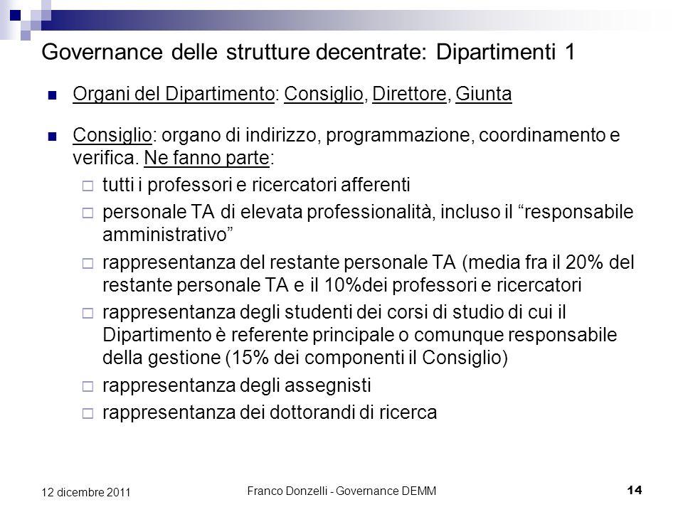 Governance delle strutture decentrate: Dipartimenti 1