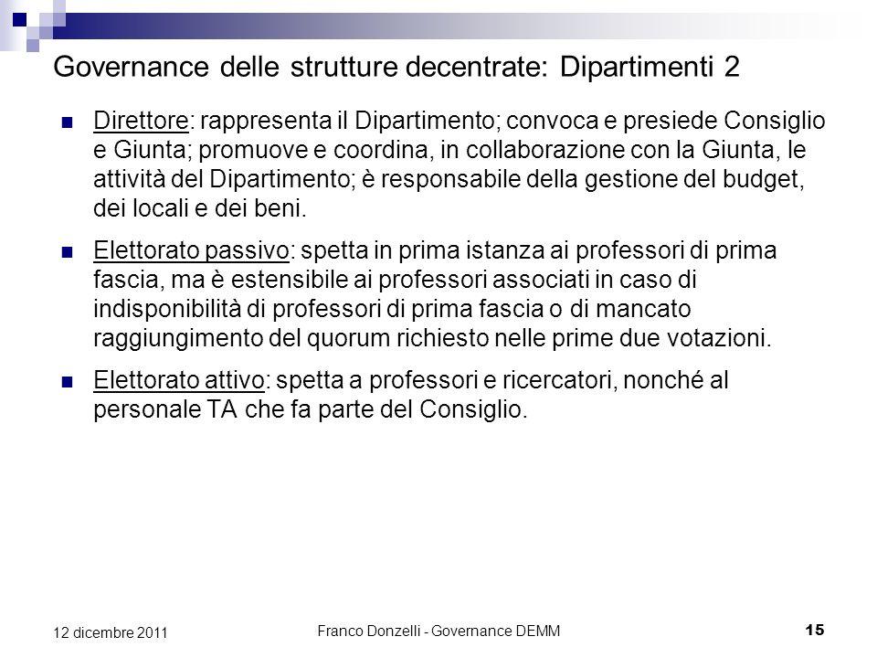 Governance delle strutture decentrate: Dipartimenti 2